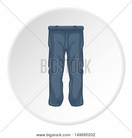 Mens sport pants icon in cartoon style on white circle background. Clothing symbol vector illustration