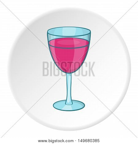 Glass of wine icon in cartoon style on white circle background. Drink symbol vector illustration