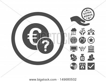 Euro Status pictograph with bonus clip art. Vector illustration style is flat iconic symbols gray color white background.