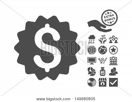 Financial Reward Seal icon with bonus design elements. Vector illustration style is flat iconic symbols gray color white background.