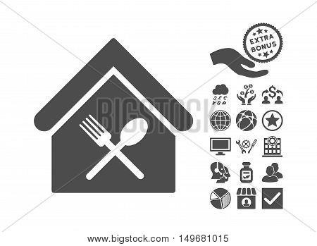 Food Court icon with bonus symbols. Vector illustration style is flat iconic symbols gray color white background.