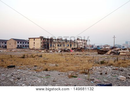 Wrecked industrial landscape on city outskirts in China