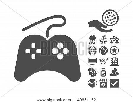 Gamepad icon with bonus design elements. Vector illustration style is flat iconic symbols, gray color, white background.