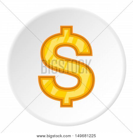 Sign of money dollar icon in cartoon style on white circle background. Currency symbol vector illustration