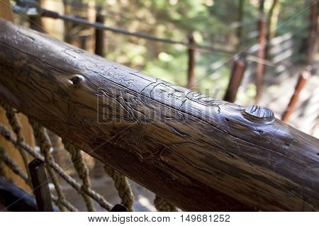 Etchings on a old weathered handrail high up in the treetops at Capilano BC