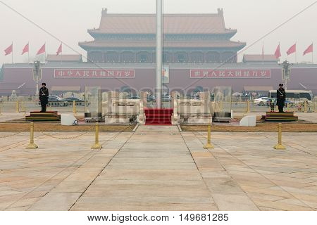 BEIJING CHINA - JANUARY 15: This is the entrance to the Forbidden city a cultural historic landmark in Beijing being on January 15th 2015 in Beijing
