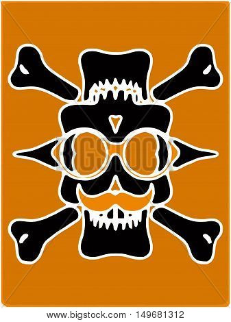 black devil skull with glasses and bones and yellow background