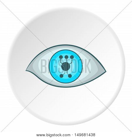 Cyber eyes icon in cartoon style on white circle background. Innovation symbol vector illustration