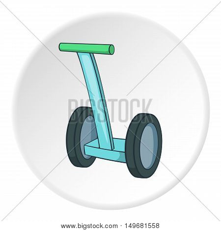 Segway icon in cartoon style on white circle background. Transport symbol vector illustration