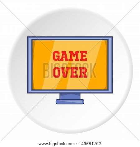 Monitor with word game over icon in cartoon style on white circle background. Play symbol vector illustration