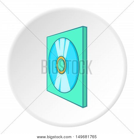 Games disk icon in cartoon style on white circle background. Play symbol vector illustration