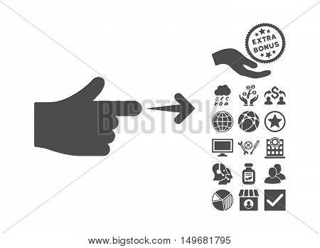 Index Hand icon with bonus icon set. Vector illustration style is flat iconic symbols, gray color, white background.