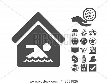 Indoor Water Pool icon with bonus pictograph collection. Vector illustration style is flat iconic symbols, gray color, white background.