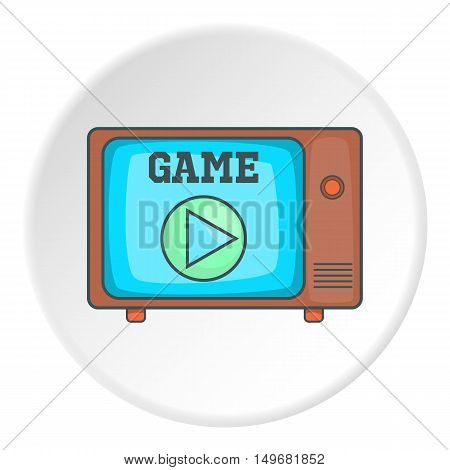 Game on retro TV icon in cartoon style on white circle background. Play symbol vector illustration
