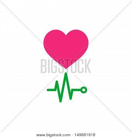 EKG. Life Icon Vector. Flat simple color pictogram