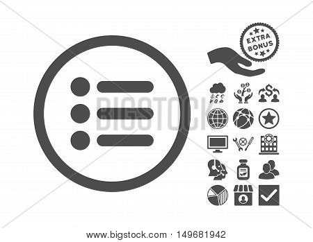 Items icon with bonus pictograph collection. Vector illustration style is flat iconic symbols gray color white background.