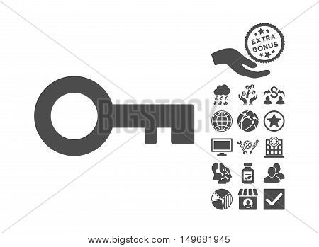 Key icon with bonus images. Vector illustration style is flat iconic symbols gray color white background.
