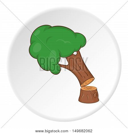 Fallen tree icon in cartoon style on white circle background. Falling symbol vector illustration