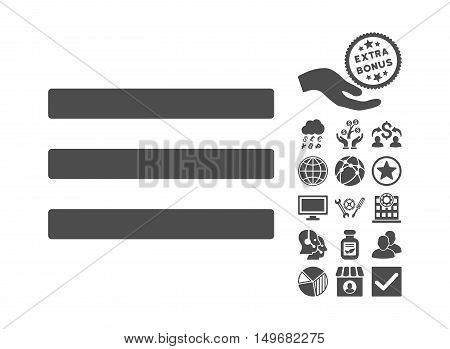 Menu pictograph with bonus icon set. Vector illustration style is flat iconic symbols gray color white background.