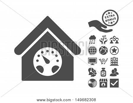 Meter Building icon with bonus pictograph collection. Vector illustration style is flat iconic symbols gray color white background.