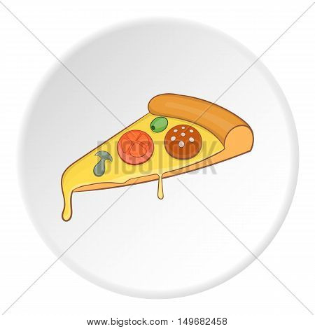 Slice of pizza icon in cartoon style on white circle background. Food symbol vector illustration