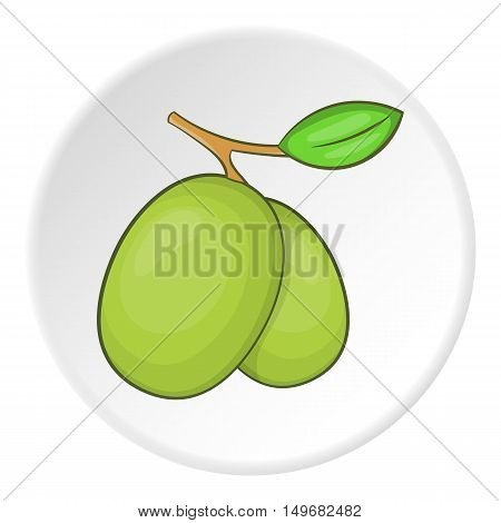 Olive icon in cartoon style on white circle background. Plant symbol vector illustration