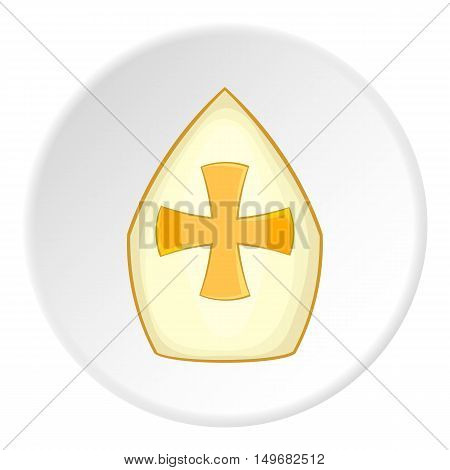 Combat shield icon in cartoon style on white circle background. War symbol vector illustration