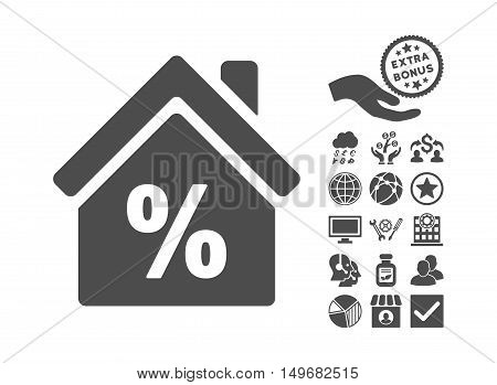 Mortgage Discount pictograph with bonus icon set. Vector illustration style is flat iconic symbols, gray color, white background.