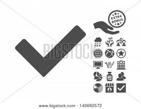 Ok icon with bonus design elements. Vector illustration style is flat iconic symbols, gray color, white background.