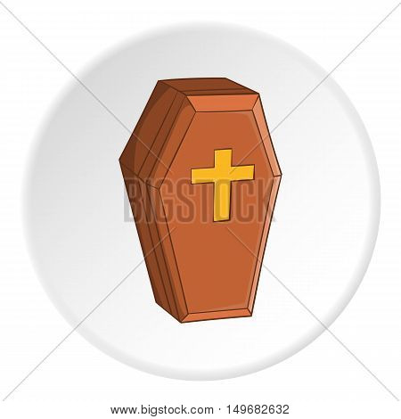 Coffin icon in cartoon style on white circle background. Death symbol vector illustration