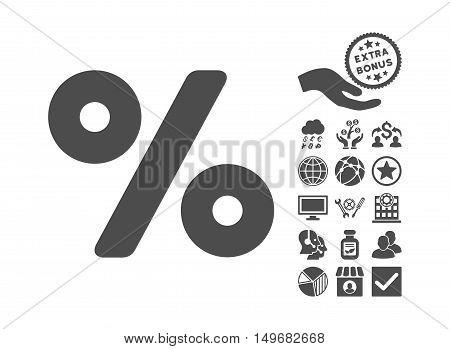 Percent icon with bonus clip art. Vector illustration style is flat iconic symbols, gray color, white background.