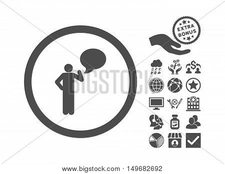 Person Idea icon with bonus pictogram. Vector illustration style is flat iconic symbols, gray color, white background.