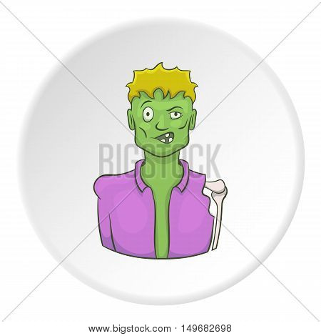 Zombie icon in cartoon style on white circle background. Dead symbol vector illustration