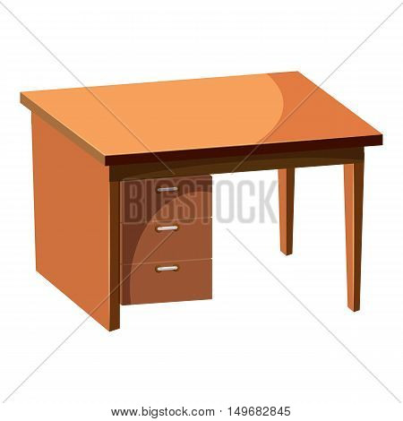 Computer desk icon in cartoon style isolated on white background. Furniture symbol vector illustration