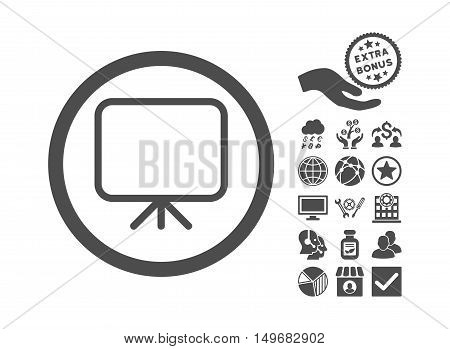 Presentation Screen icon with bonus clip art. Vector illustration style is flat iconic symbols, gray color, white background.