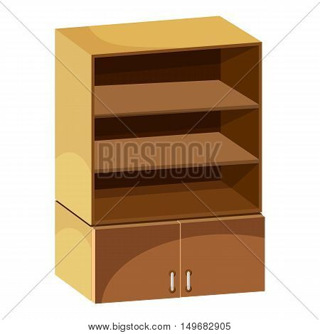 Wardrobe with shelves icon in cartoon style isolated on white background. Furniture symbol vector illustration
