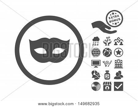 Privacy Mask icon with bonus pictograph collection. Vector illustration style is flat iconic symbols, gray color, white background.