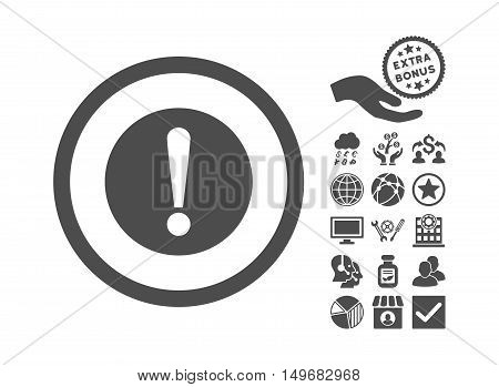 Problem pictograph with bonus icon set. Vector illustration style is flat iconic symbols, gray color, white background.
