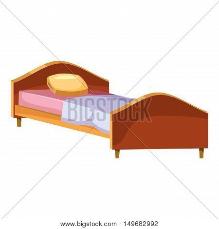 Single wooden bed icon in cartoon style isolated on white background. Furniture and sleeping symbol vector illustration