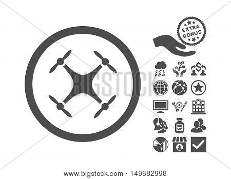 Quadcopter pictograph with bonus pictograph collection. Vector illustration style is flat iconic symbols, gray color, white background.