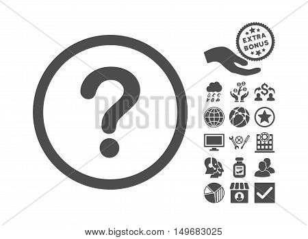 Question pictograph with bonus icon set. Vector illustration style is flat iconic symbols, gray color, white background.