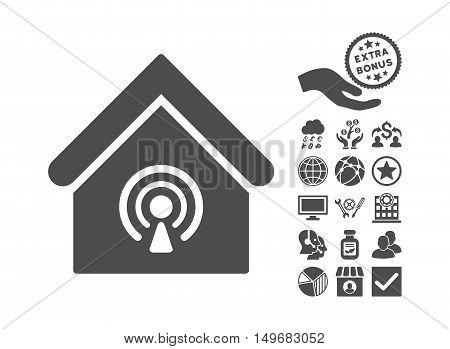 Radio Station icon with bonus icon set. Vector illustration style is flat iconic symbols, gray color, white background.