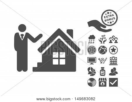 Realty Agent icon with bonus pictures. Vector illustration style is flat iconic symbols gray color white background.