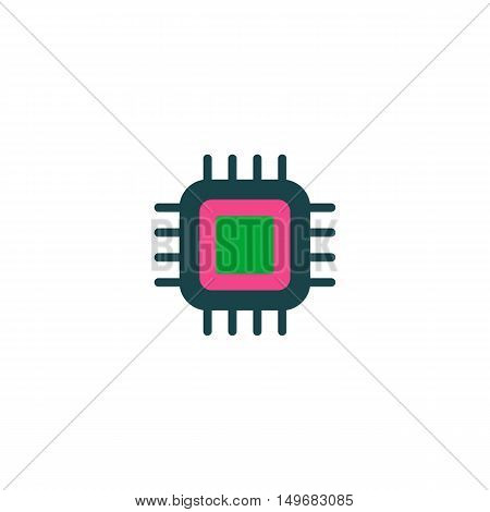 CPU Icon Vector. Flat simple color pictogram