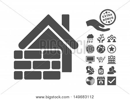 Realty Brick Wall icon with bonus symbols. Vector illustration style is flat iconic symbols gray color white background.