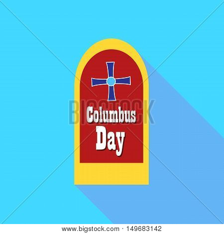Banner of Columbus day icon in flat style with long shadow. Holiday symbol vector illustration