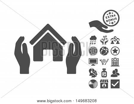 Realty Insurance Hands pictograph with bonus pictures. Vector illustration style is flat iconic symbols gray color white background.