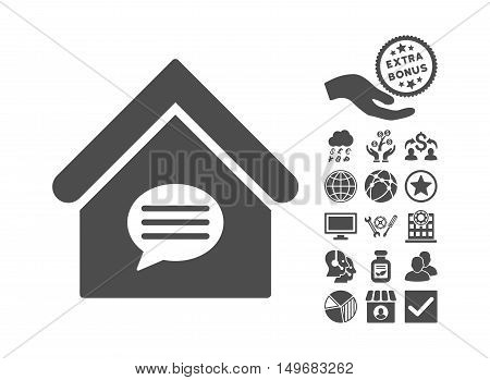 Realty Message icon with bonus images. Vector illustration style is flat iconic symbols gray color white background.
