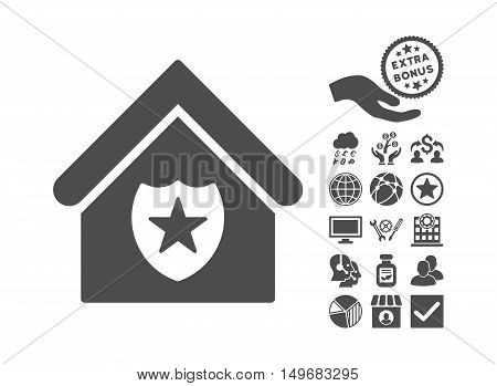 Realty Protection pictograph with bonus symbols. Vector illustration style is flat iconic symbols gray color white background.
