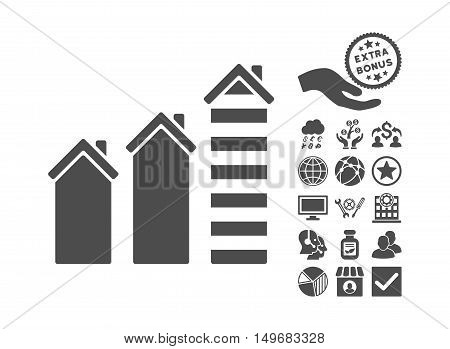 Realty Trend icon with bonus pictogram. Vector illustration style is flat iconic symbols gray color white background.